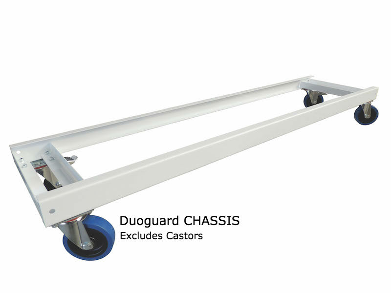 ChassisNew and improved Novalok chassis. Now can take novex shelf inserts, acting as a bottom tier.  On lighter duty units wheels can be mounted directly to Novalok Shelf  units, for heavier duty applications, a chassis is used. we recommend anything over 200kg to have a full chassis.